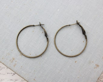 Antique Bronze Hoop Earring 35mm - 10pcs (5 Pairs)