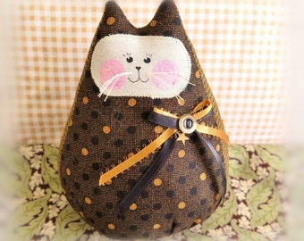 Cat Doll 6 in. Free Standing Kitty, Autumn Fall Halloween, Black and Copper Cat Decoration Doll Primitive Handmade CharlotteStyle Decorative