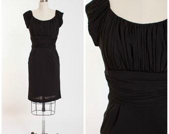 1950s Vintage Cocktail Dress Black Ruched Jersey Chiffon Vintage 50s Party Dress with Shelf Bust Size Small