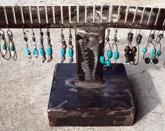 Gypsy Teardop Earrings- Large Dangle Earrings, Boho drop earrings, tribal, rustic earrings, turquois blue and black beads, Sterling Silver
