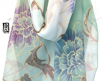 Large Silk Scarf Handpainted, Green Japanese Kimono Scarf, Gold Karakusa Scarf, Silk Chiffon Scarf, Silk Scarves Takuyo, 14x72 inches.