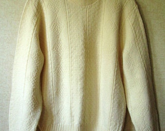 Fisherman Sweater Aran pattern crewneck pullover boyfriend sweater oversized on women natural cream acrylic sweater unisex style mens medium