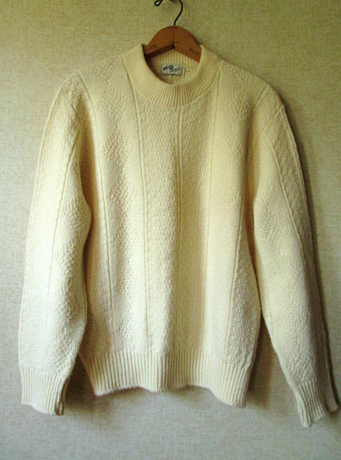 Fisherman sweater aran pattern crewneck pullover boyfriend for Aran crafts fisherman sweater