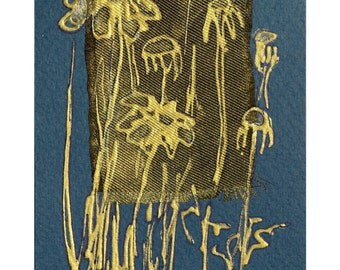 Golden daisies on royal blue - blank handmade greeting card for any occasion - original painting - primitive, minimalist, wild flowers OOAK
