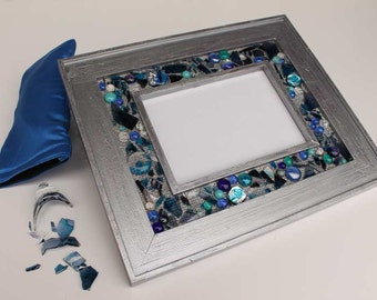 Jewish Wedding 8 x 10 Frame with wedding glass shards, fused glass & dichroic glass, initials, date custom made OOAK