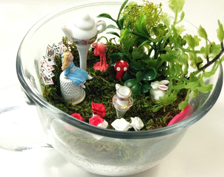Alice In Wonderland Fairy Garden Miniature Teacup By Carielewyn