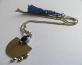 Lapis Lazuli Long silver necklace and blue silk tassel-Statement lariat boho hippie gypsy gem neclace