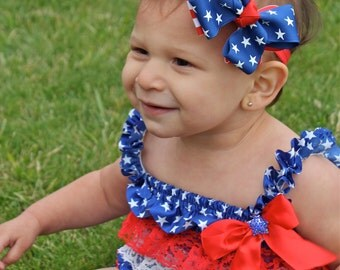 4th of July Hair Bow - Hairbow - Stars and Stripes Bow