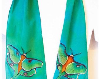 """Hand painted silk scarf. Luna Moth Silk Scarf. Silk Scarf handpainted. Handmade silk scarf. 8""""x52"""" Luna Moth Scarf. Handpainted silk scarves"""