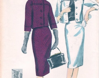 Fab Uncut Vintage 1950s Vogue Special Design 4079 Yoked Crop Jacket and Slim Skirt Suit and Cap Sleeve Blouse Sewing Pattern B34