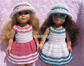 Crochet Pattern 2 PC Set for 18 inch Doll Crochet Patterns Summer Dress and Lace Sun Hat for American Doll Outfit Christmas Gift for Girl