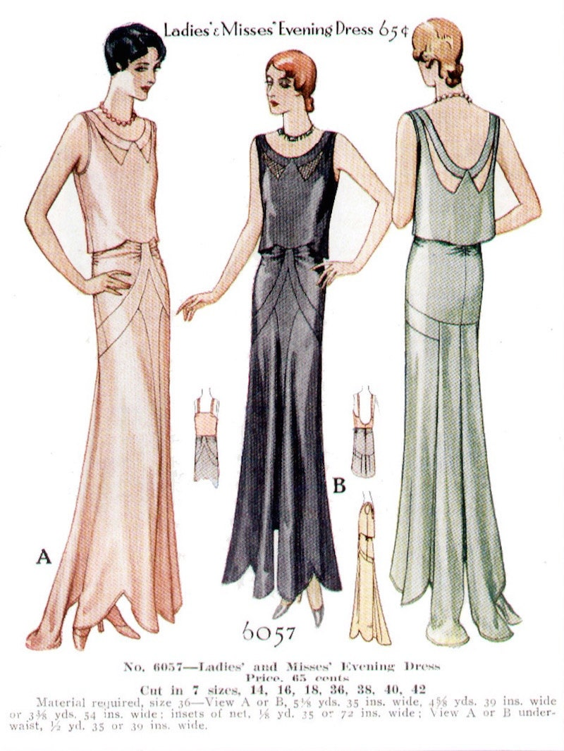 1930 evening gown pattern illustration - McCall 6057 (M5154)