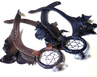 Mad Max Post apocalyptic leather necklace⎜Burning man leather necklace⎜Steampunk pirate necklace⎜ Witchpunk Dreamcatcher amulet necklace
