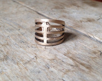 KAHLITSE No2 - Bronze Unisex Ring Cast rustic chunky slightly oxidized adjustable - Made to order