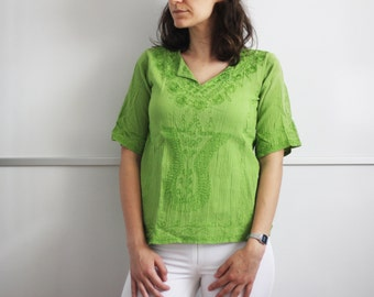 SALE - Vintage Bohemian Embroidered T shirt