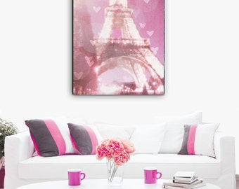 Eiffel Tower Canvas, Paris Canvas Wall Art, Pink Paris, Eiffel Tower Wall Art, Paris Decor