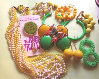 "1960s Jewelry Lot Mod Lime Green Yellow ""Summer of Love"" Mini Skirt Knee Tickler Hong Kong costume jewelry Hippie 60's costume party"