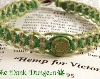 Lime Green White Green Hemp Bracelet, Flower Hemp Bracelet, Hippie Bracelet, Summer Bracelet, Macrame Hemp Bracelet, Green Hemp Jewelry