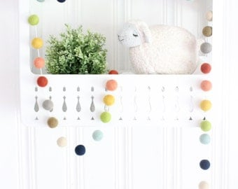 Farm To Table- Felt Pom Pom Garland- Felt Ball Bunting- Gender Neutral Decor- Coral Yellow Navy Gray Cream- Rainbow Garland- Mantle garland