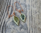 leaf earrings, copper wires, porcelain jewelry, leaf jewelry, green leaf, nature inspired, earthformsbymarie, handmade earrings, clay leaf