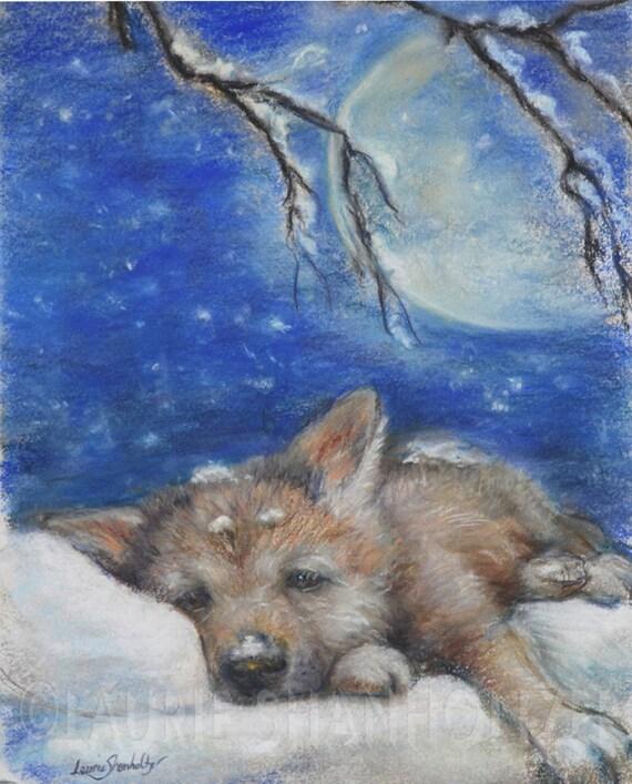 Wolf Cub Original Art Pastel Painting Nursery By