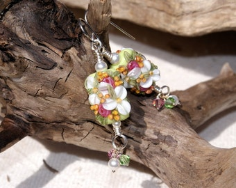 May Flowers--Handmade Floral Lampwork Earrings   586