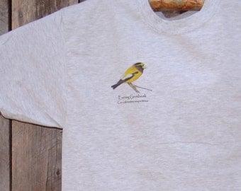 Evening Grosbeak T-Shirt, birding shirt, nature tee, original Bird Nird design on Hanes Beefy-T in Ash gray, for birders and bird lovers