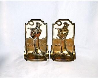 Bookends Pompeian Bronze Moonlight Sonata 1920s Flute Player