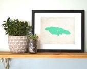 Jamaica Personalized Country Map Art 8x10 Print. Honeymoon Map. Vacation Trip Map. Personalized Keepsake Map. Island Map.