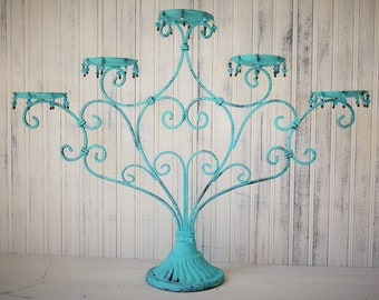 Metal Candle Holder Large 5 Candle Hand Painted Turquoise Distressed Beach Cottage Chic Upcyclesisters