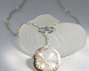 Pearl Necklace . Vintage Bride. Carved Mother of Pearl