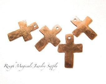 Handmade Copper Crosses Rustic Primitive Christian Pendants Charms - 4 Pieces