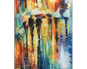 Colorful Abstract Cityscape 'Rainy Etude' Contemporary City Nightlife Art, Modern Umbrella Decor, Metal Giclee Rainbow Artwork by Leonid