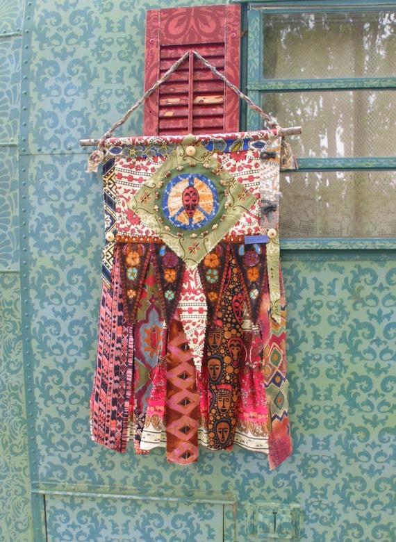 Hippie Chic Wall Decor : Boho chic prayer flag diy style wall art hippie peace