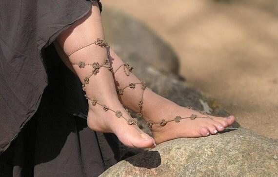 Wedding Barefoot Sandals - Lace Beach Wedding Shoes