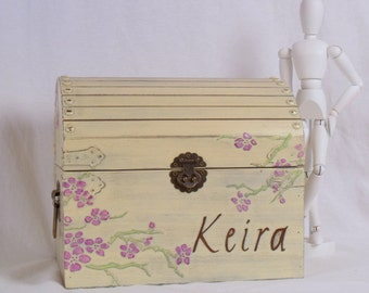 Memory Box - Shabby Chic, Cherry Blossoms, Personalized  MDT