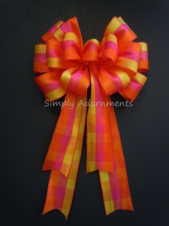 Orange Pink plaid Wreath bow Pink Yellow Orange Plaid Bow Plaid Wreath Bow Orange Plaid Tartan Birthday Decor Orange Wedding Church Pew Bow