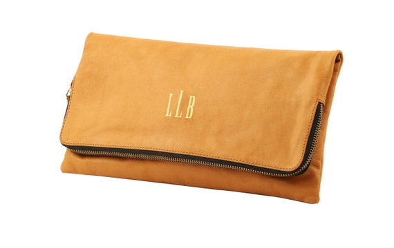 Tan Monogrammed foldover clutch; Tan personalized foldover clutch, Bridesmaid Monogram Clutch, Bride to Be Clutch; Gift Idea for Her