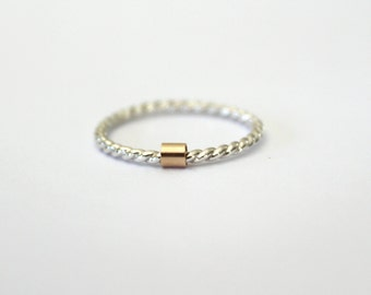 Twist and Slide Ring//Sterling silver ring with 14kt. gold filled slide//Handcrafted
