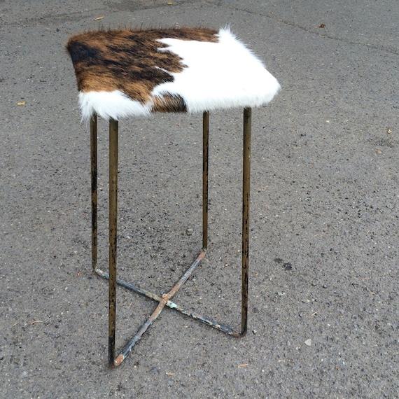 Cowhide Barstools Vintage Black White Hairhide Leather Bar: Leather Bar Stool Vintage Hair On Cow Hide Chair By