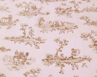 SALE Vintage Childs Room Toile Window Treatment (4 pc.) Nursery Rhymes Pink and Brown