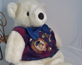 Vintage Soft Plush Polar Bear with Lined Vest