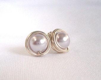 Sale Light Purple Pearl Stud Earings, Sterling Silver Earrings, Wire Wrapped Jewelry Handmade