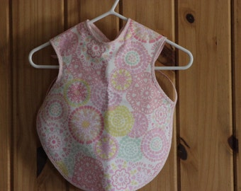 Pretty In Pink Floral Design Bapron that stays in place on busy Babies - Ready to ship- Waterproof Bib,Toddler or Baby Bib