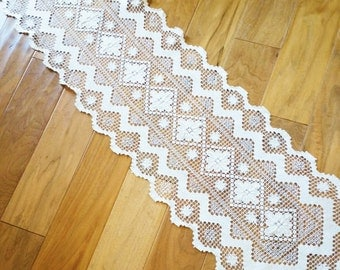 Vintage Cottage Home Heirloom White Crochet Thread Table Runner, Romantic Home, Olives and Doves