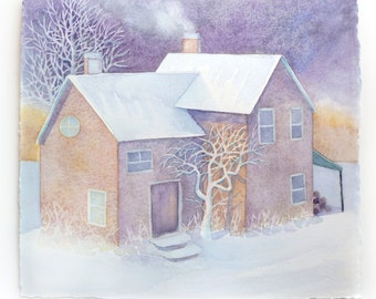 Winter Cottage, Watercolor Painting, Snowy Scene, Cottage Painting, House in Winter, Snow Landscape, Cozy Cottage, Chimney, Winter Scene