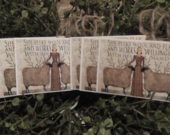 Primitive Sheep & Wool Hang Tags