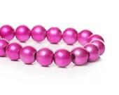 40 Hot Pink Beads - Metallic Glass Beads - 10mm Beads - Fuchsia Beads