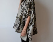 Khaki linen smock / Plus size linen top / Maternity top / Printed Italian linen smock top