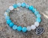 Blue Beaded Bracelet, Blue Lotus Bracelet, Blue Stretch Bracelet, Boho Beaded Bracelet, Bohemian Bracelet, Hippie Jewelry